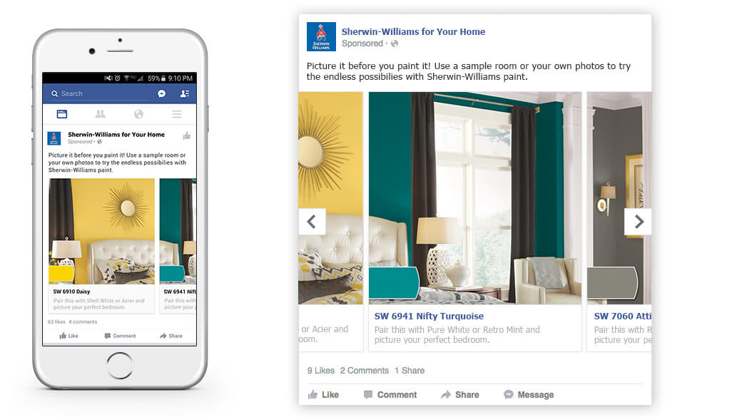 Proposed reformatting into a Facebook carousel ad, shown in a smart phone feed and a desktop feed.