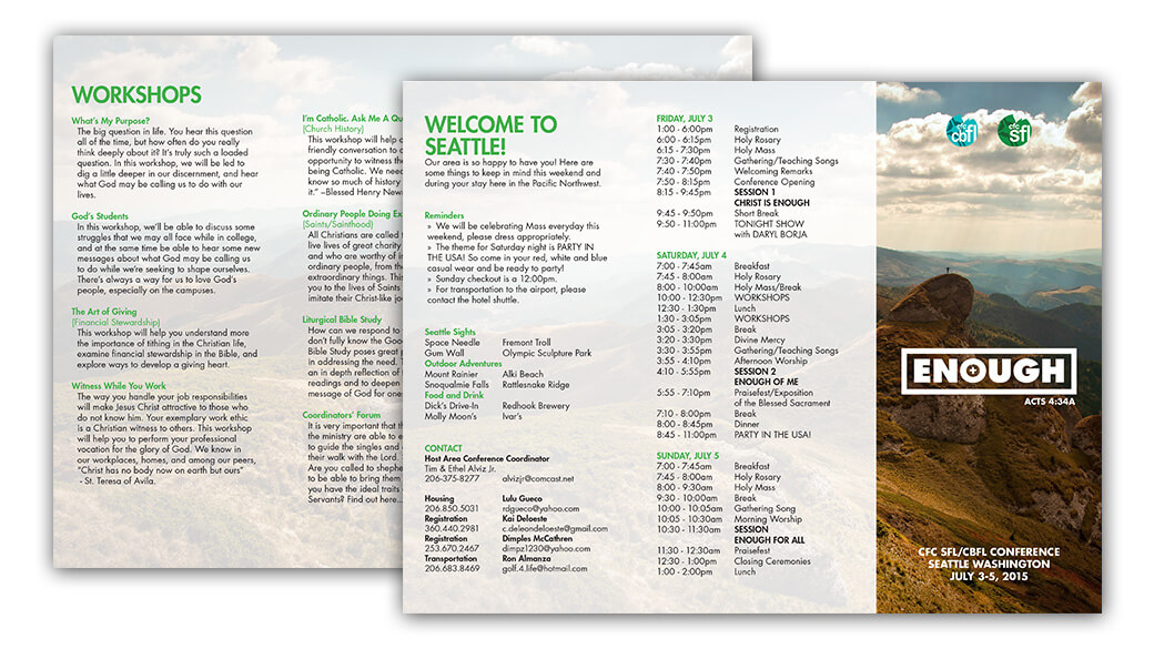 Flattened brochure art, with schedule, workshop description, and other important information.