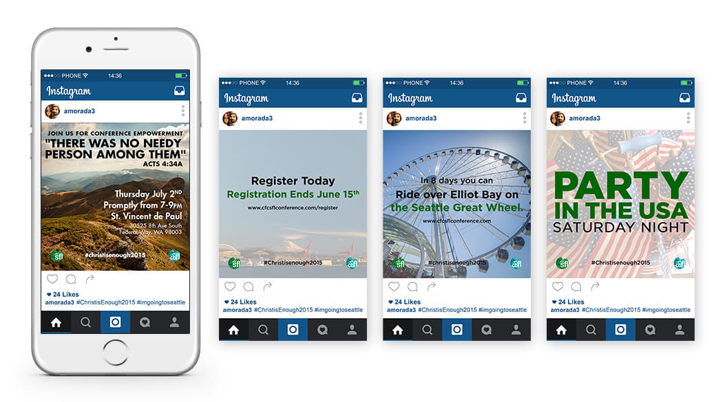 Various Instagram posts promoting related events, registration deadlines, and countdowns.