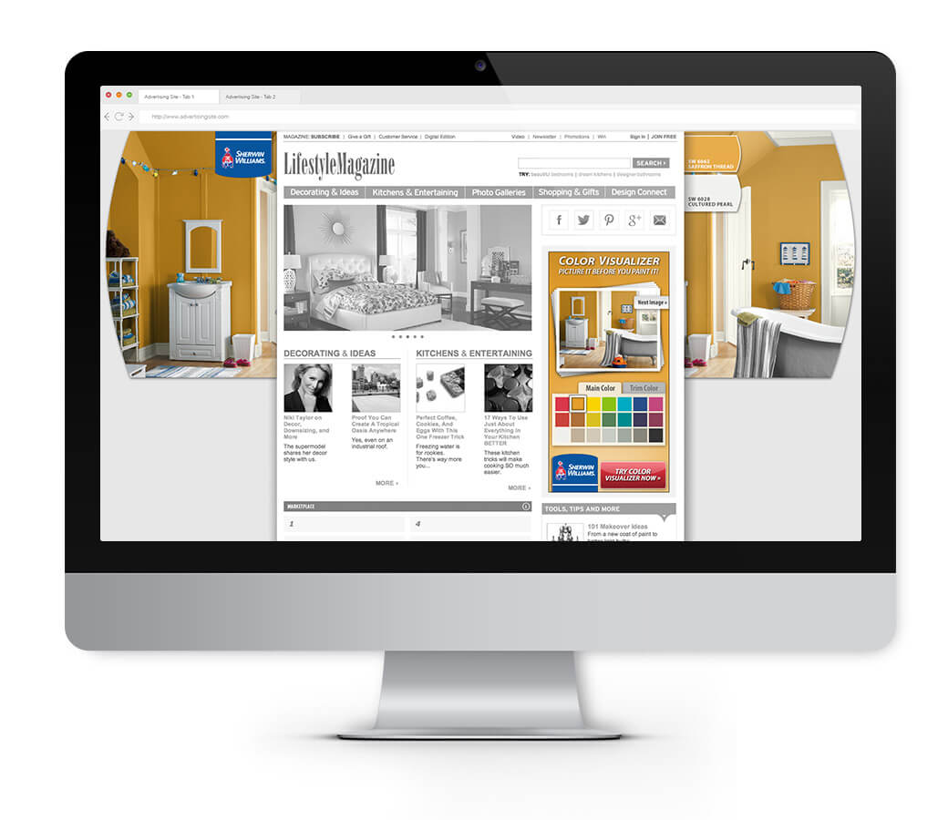 Sherwin-Williams Ad mocked up on a desktop, using the gutters of the website.
