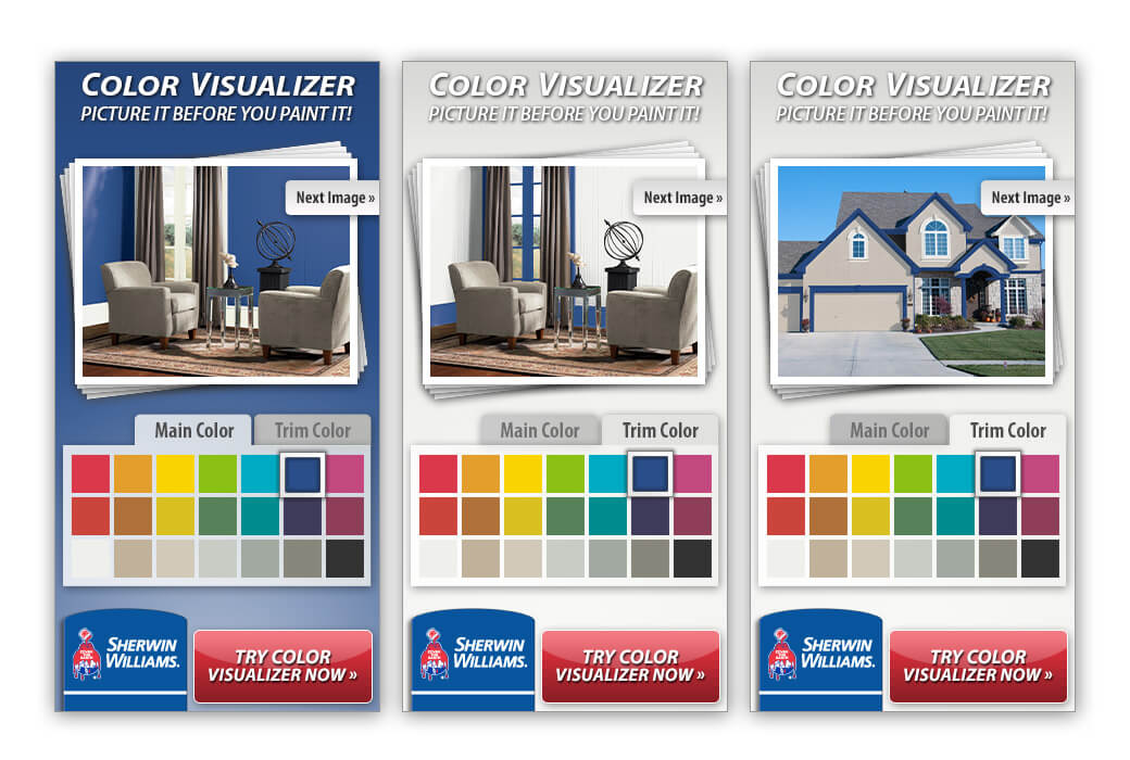 300x600 banner ads controlled the main color, trim color, and sample photo.