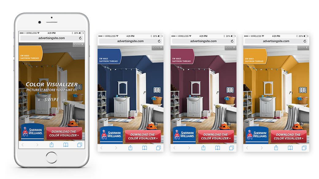 Proposed reformatting into a smartphone takeover ad, calling the user to see options by swiping left or right.